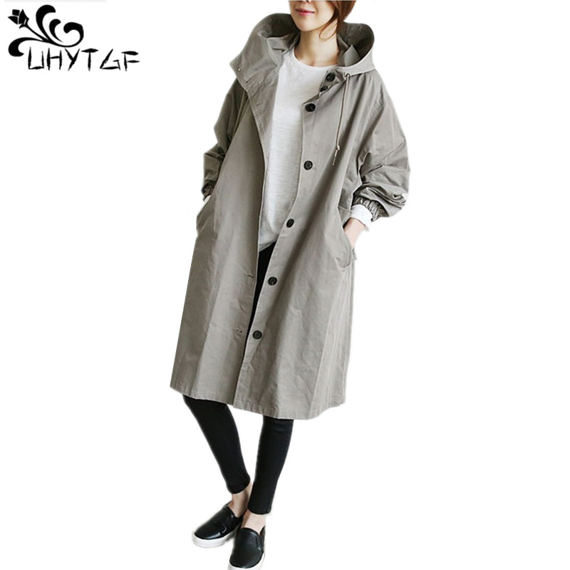 UHYTGF 2019 New Spring Autumn Women's Trench Coats Plus Size 4XL Woman's Coat Tops Female Loose Medium Long Trench Coats X314