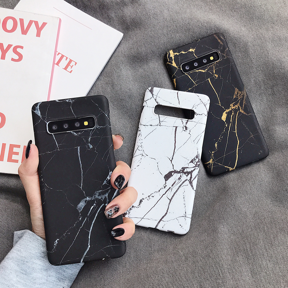 Phone Case For Samsung Galaxy S20 S10 S10e Note 10 S8 S9 Plus Note 8 9 S7 Cracked Marble Matte Hard PC Back Cover Coque