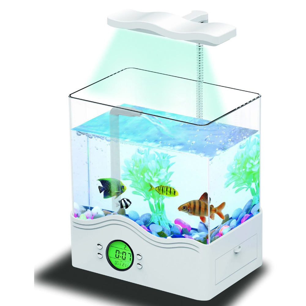 Ibama usb desktop aquarium all in one digital mini fish for Desktop fish tank