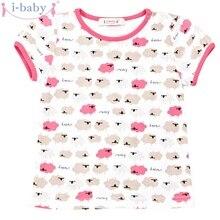 Я-одежда для малышей новорожденных футболка для девочек хлопковые футболки короткий рукав детская одежда с мультяшными рисунками белый розовый серый овец