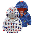 2016 Fashion Children Jackets Hooded cartoon Printed Jacket For Boys 2-6 Years Kids Outerwear Coat Baby Boys Windbreaker Clothes