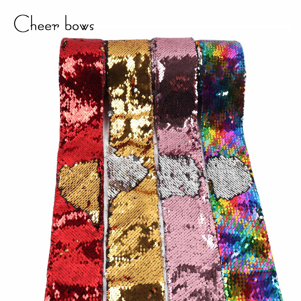 Wholesale 3 75mm Sequin Ribbon DIY Hairbows Accessories Holiday Decorations Materials Apparel Sewing Ribbon Wedding Party