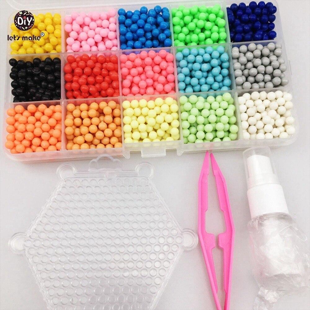 Ας κάνουμε Bbay παιχνίδια χάντρες νερού 15 Χρώμα κολλώδη Perler Χάντρες Pegboard Σετ Ασφάλεια Χάντρες Jigsaw Χάντρες νερού Bond παζλ παιχνιδιών