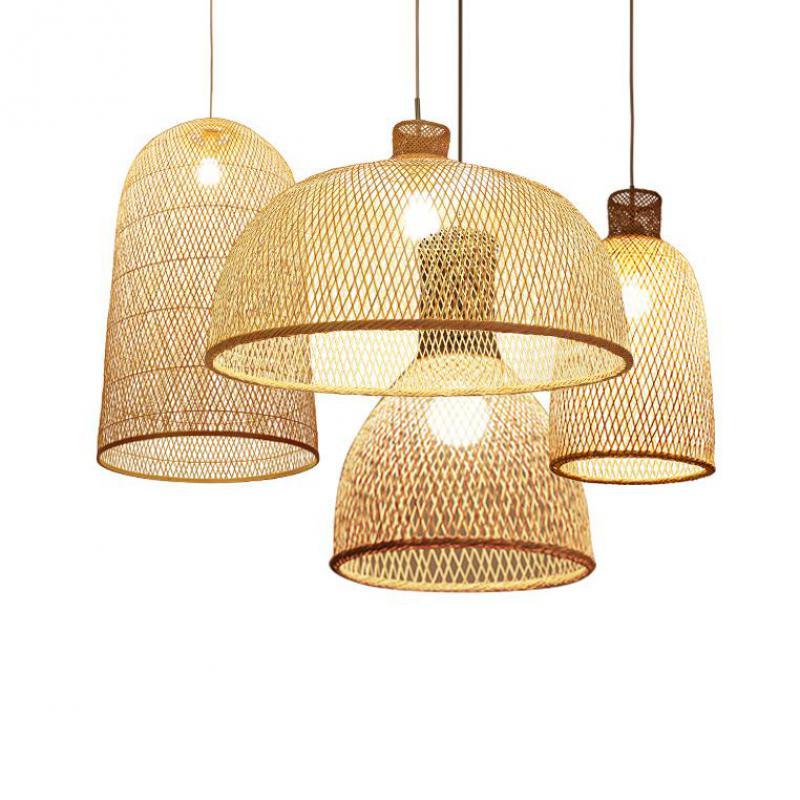 Японский бамбуковый арт подвесной светильник, деревянная плетеная клетка для птиц, подвесной светильник для ресторана, столовой, кухни, све