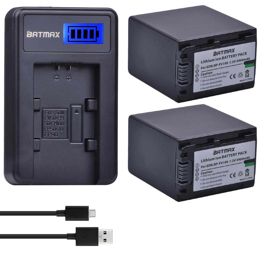 2 Pcs 3900 mAh NP FV100 NP-FV100 FV100 Batteries + LCD USB Chargeur pour Sony NP-FV30 NP-FV50 NP-FV70 SX83E SX63E FDR-AX100E AX100E