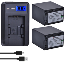 2Pcs 3900mAh NP FV100 NP-FV100 FV100 Batteries + LCD USB Charger for Sony NP-FV30 NP-FV50 NP-FV70 SX83E SX63E FDR-AX100E AX100E