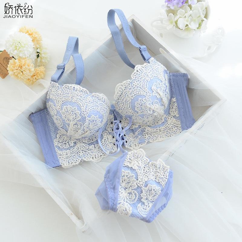 JYF Brand Hot Sale Sexy Lace Women Straps Bra Underwear Set Fine Embroidery Elegant Brassiere Super Gather Push Up Bra Set Japan