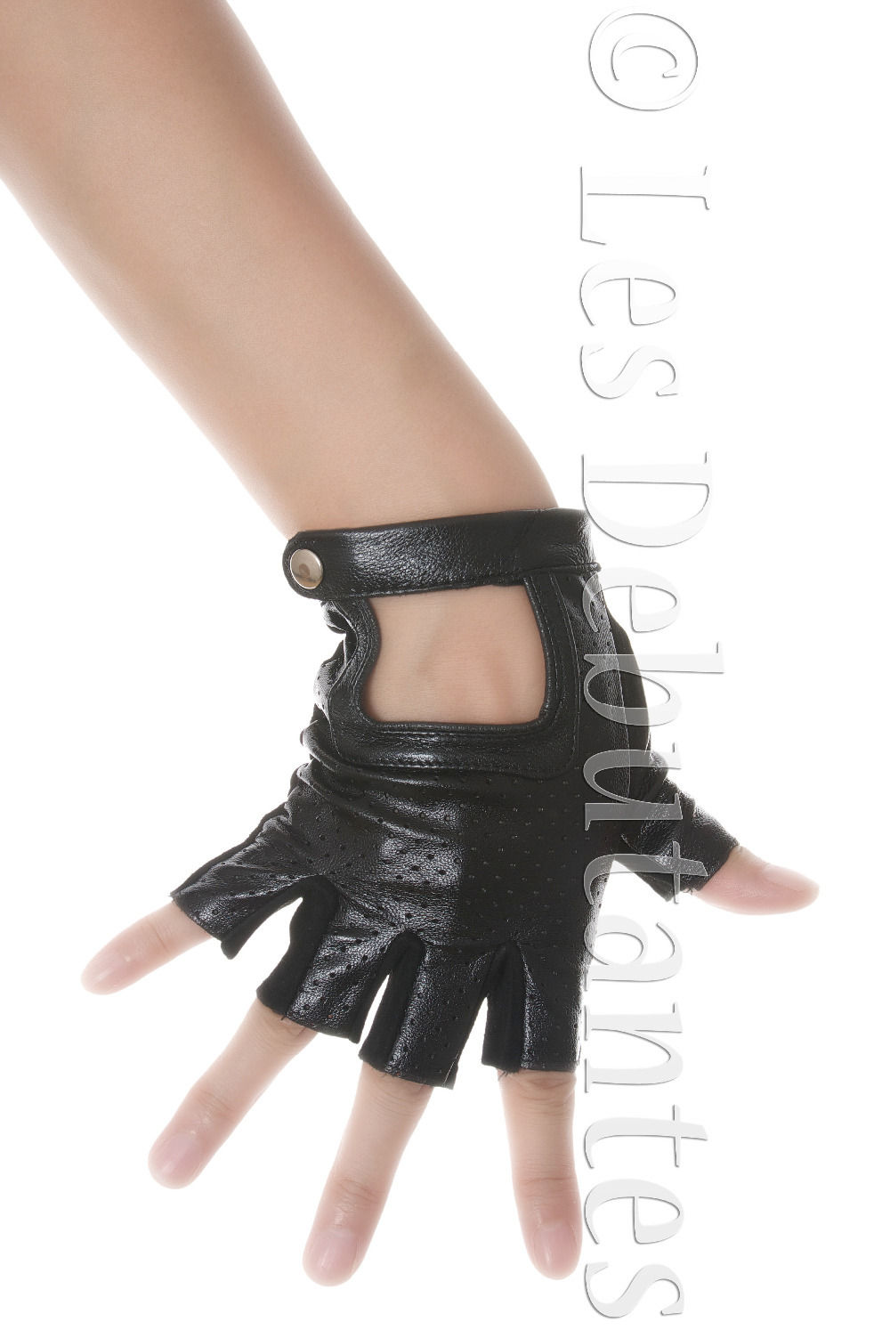 Driving gloves debenhams - Womens Black Leather Fingerless Gloves