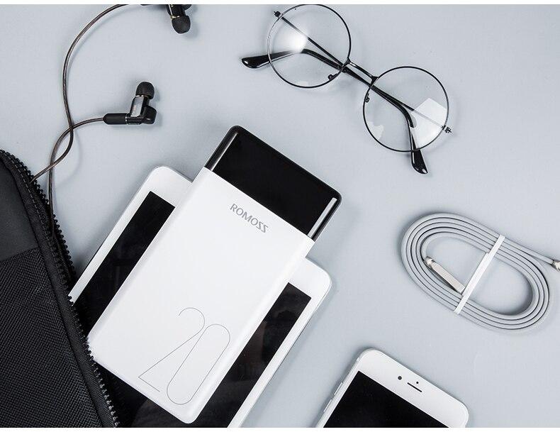 ROMOSS LT20 портативное зарядное устройство 20000 мАч с двумя usb-портами, светодиодный дисплей, быстрая внешняя батарея для телефонов, планшетов, Xiaomi