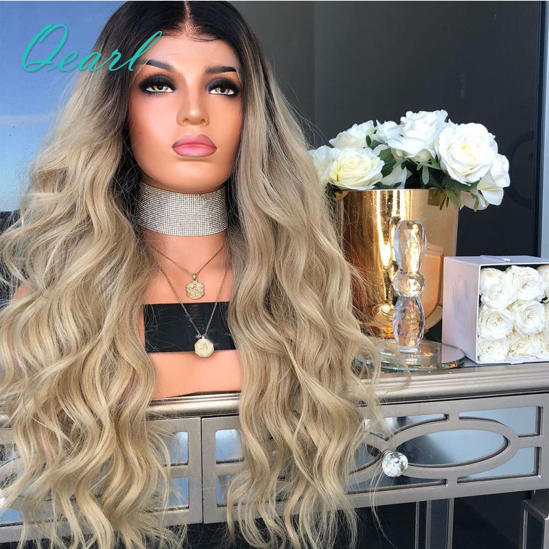 Ombre 613 Light Blonde Dark Brown Roots 180 Density Human Hair Lace Front Wig Pre Plucked