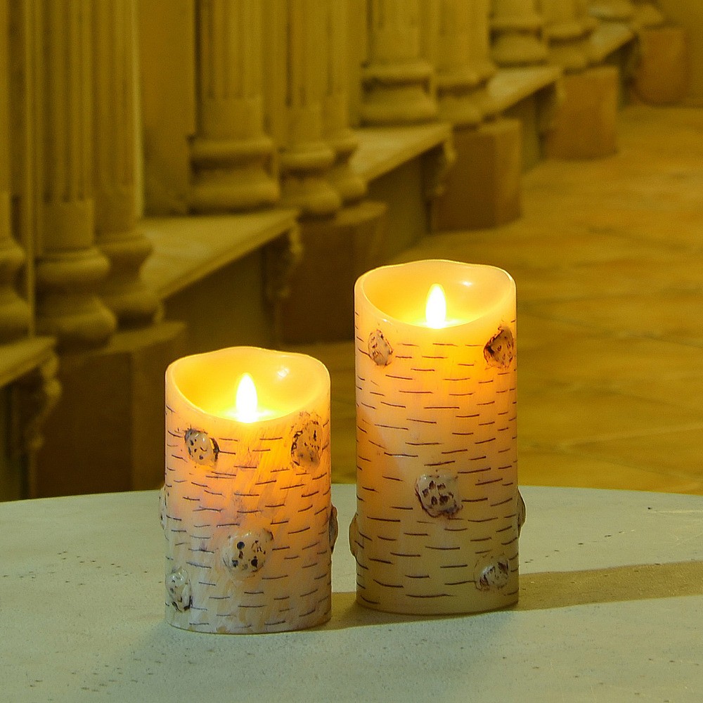 Birch Bark LED Candle Flameless Paraffin Wax Candles Night ...
