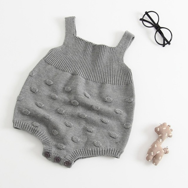 28143ae797fc Baby Gray Knitted Romper Wool Sweat Strap Children Clothing ...