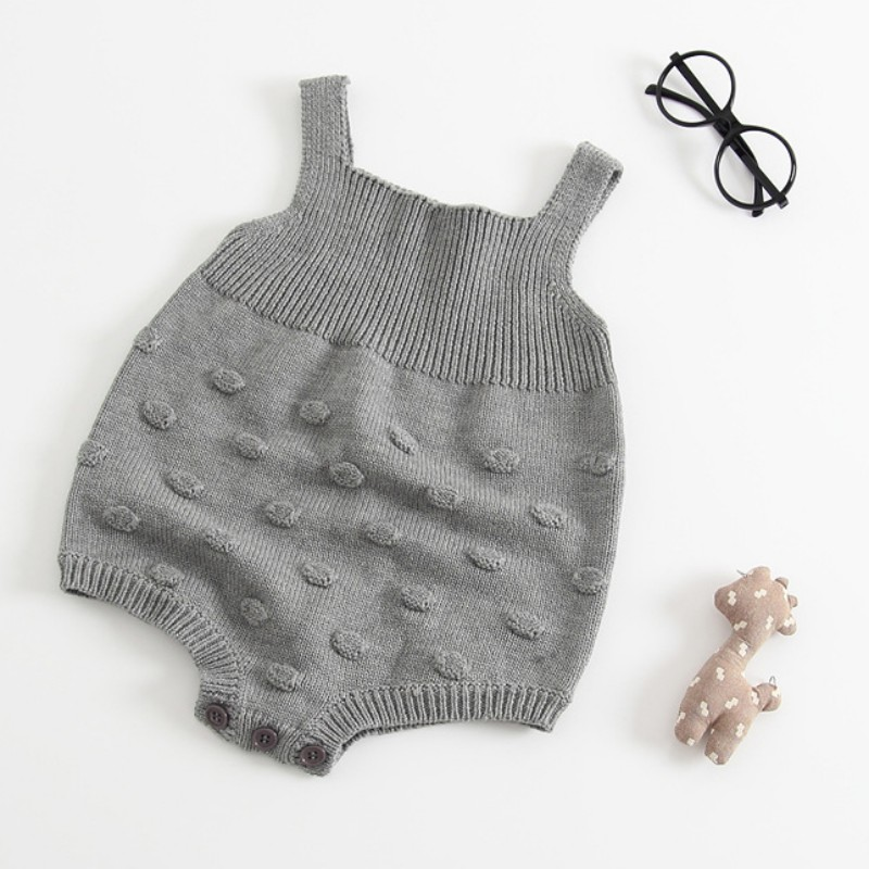 Baby Gray Knitted   Romper   Wool Sweat Strap Children Clothing Sleeveless Jumpsuit Baby Coverall 3-18M