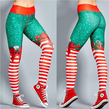 Polyester Red Christmas Striped Print Legging 2