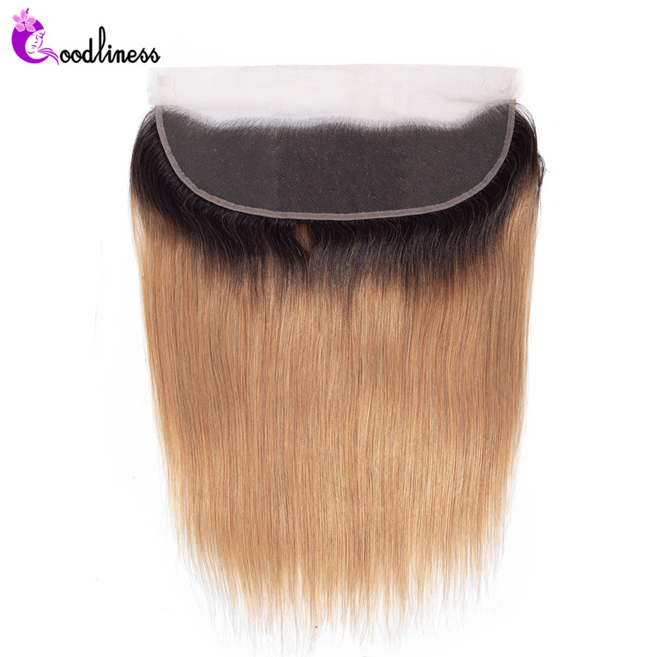 1B/27 Two Tone Color Honey Blonde Frontal Ombre 13x4 Ear To Ear Lace Frontal Closure Peruvian Straight Ombre Human Hair Frontal