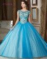 Loverxu Elegante Escote Redondo Azul De Quinceanera del Vestido Vestido 2016 Moldeado Sequined Del Organza Debutante Vestido Durante 15 Años Más El Tamaño