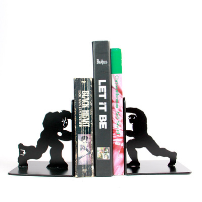 To Support Creative Hulk Iron Man Student Book Simple Desk Book Plate Iron Personality Bookends Metal TV Home Decorations