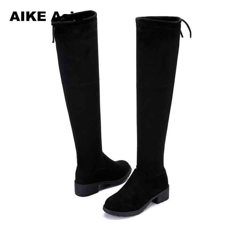 8766d73a8c17 ... Женские сапоги выше колена из эластичной ткани, женские облегающие  высокие сапоги, коллекция 2018 года ...