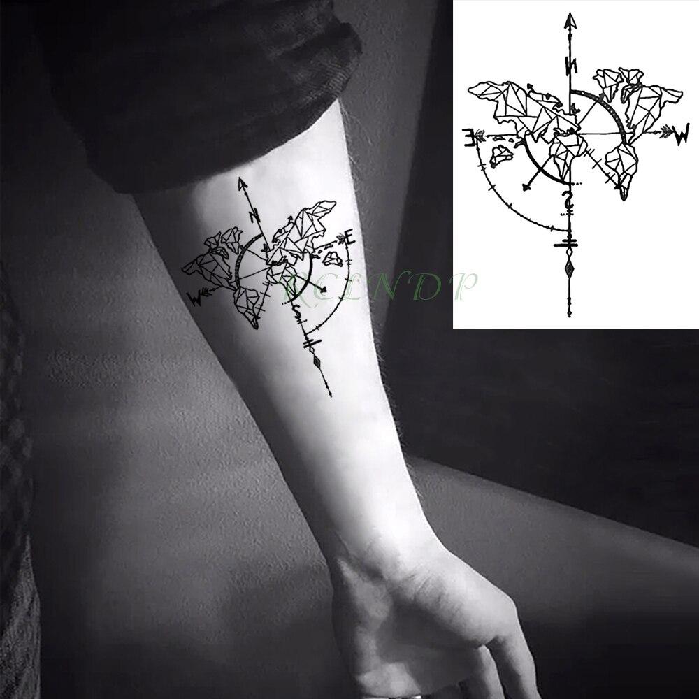 Waterproof Temporary Tattoo Sticker Compass Flash Tatoo Fake Tatto Neck Wrist  Foot Arm Tatouage Body Art For Girl Men Women line art