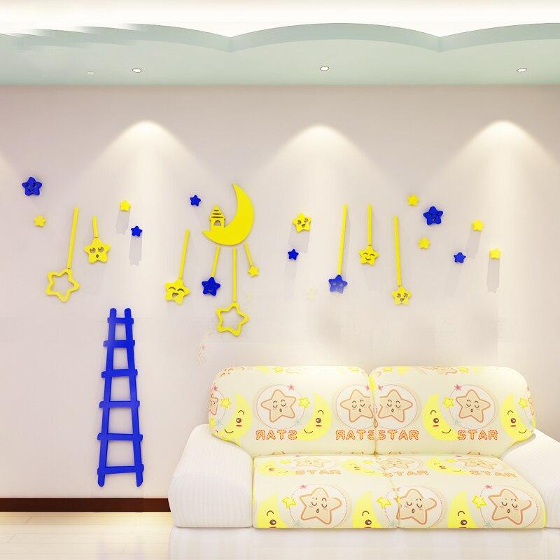 Nouvelle arrivée Lune étoiles de Bande Dessinée Creative 3D en trois dimensions Acrylique stickers muraux Enfants Chambre Maternelle plafond Stickers Muraux