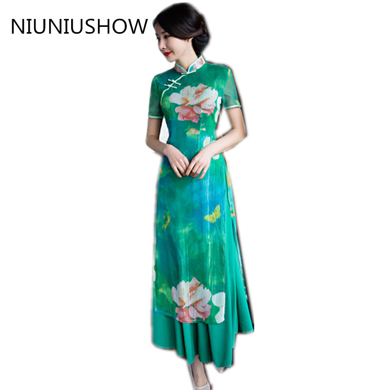 Charming Retro Women Chiffon Lined Silk Short Sleeve Audrey Cheongsam Chinese Traditional Wedding Dress High-slit Long Qipao drawstring fully lined chiffon dress