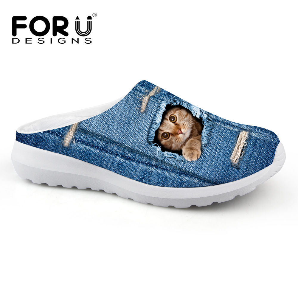 Beach Denim Shoes Breathable Mesh Sandals Cute Animal Cat Dog Printing Slip On Sandalias Clogs