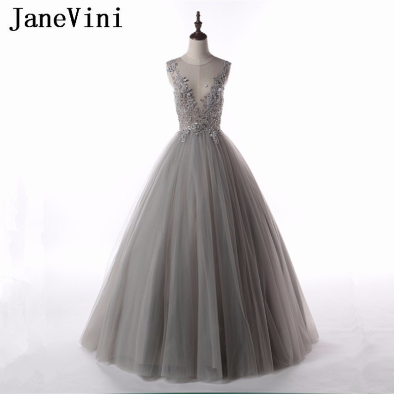 JaneVini Gray Mother Of The Bride Dresses Deep V Neck Ball Gown With Lace Appliques Beaded Sheer Back Tulle Formal Evening Gowns