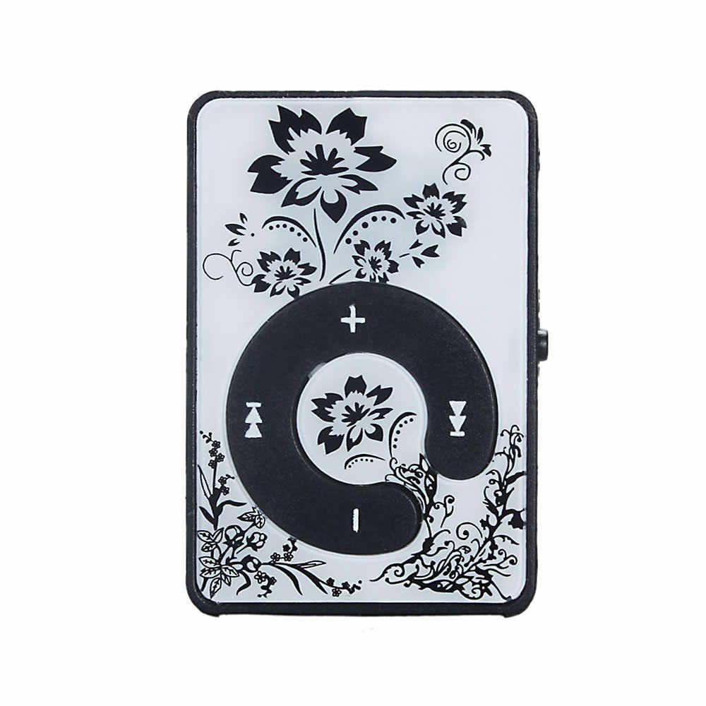ミニクリップ花柄 MP3 プレーヤー音楽メディアのサポートマイクロ SD TF カード 7.23