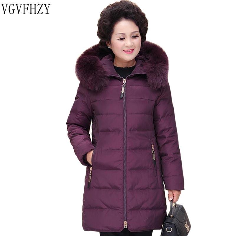 New Women Winter Long Parka   Down     Coat   Fox Fur Hooded White Duck   Down   Jacket 2018 Fashion Winter Jacket Middle-aged Women   Coats