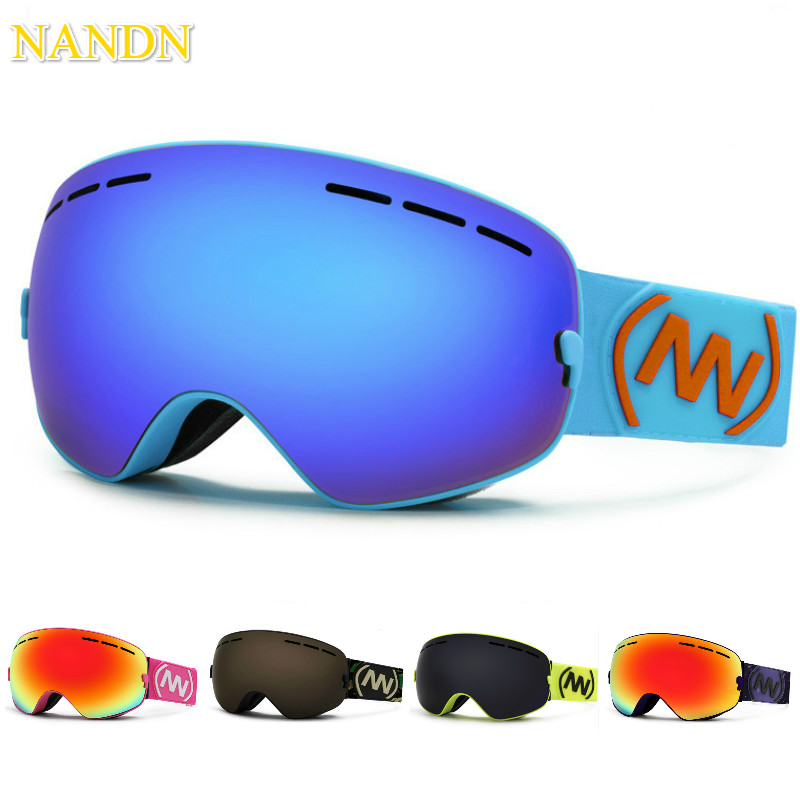 NANDN Professional Ski Goggles Replaceable Lenses UV400 Anti fog Skiing Eyewear Ski Mask Skiing Men Women Snow Snowboard Goggles-in Skiing Eyewear from Sports & Entertainment    1