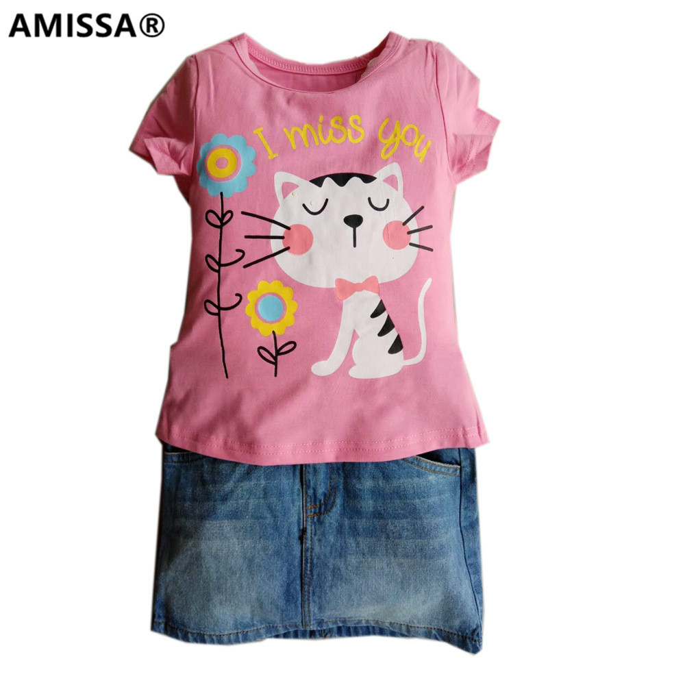 AMISSA girls clothes cotton short sleeved casual T-shirt + cowboy skirt suit children clothing kids baby jeans cartoon
