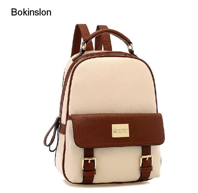 Bokinslon Women Designer Backpack Pu Leather Fashion Woman School Bag Backpack Leisure College Wind Backpack Girl free shipping 2015 new famous designer brand fashion leisure cavans school college wind backpack eiffel tower pattern