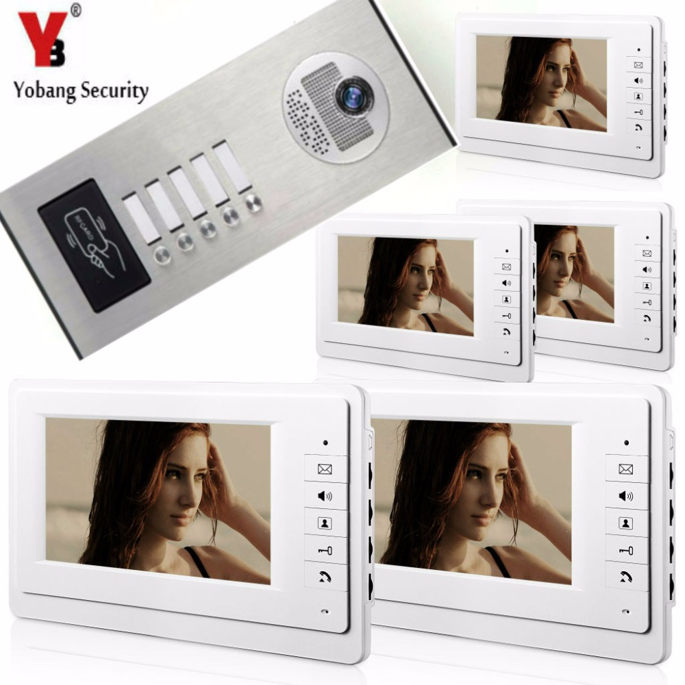 Yobang Security 7Inch Wired Video Door Phone Doorbell Home Entry Intercom System With RFID Access Door IR Camera For 5 Units yobangsecurity wired video door phone 7 inch lcd video doorbell door chime home intercom system kit with rfid access ir camera