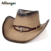 High Quality Cowhide Leather cappello Cowboy Hat Men Women 2019 Classics Sunhat chapeau homme chapeau cowboy western Vintage Cap
