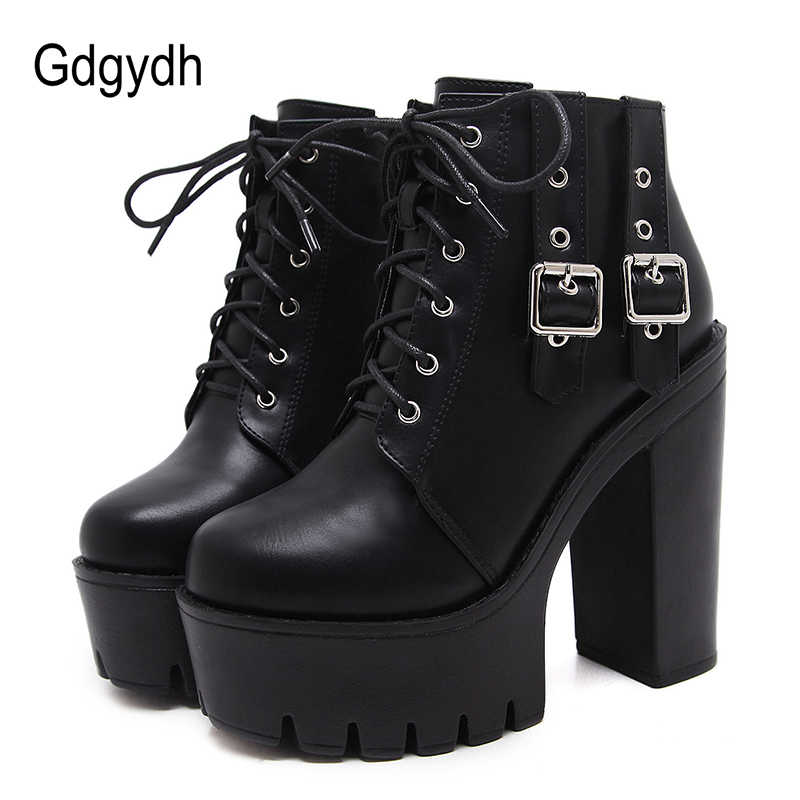 58e4c2ba8 Gdgydh/2019 г. весенние женские ботильоны высокая шнуровка сапоги на платформе  женская черная обувь