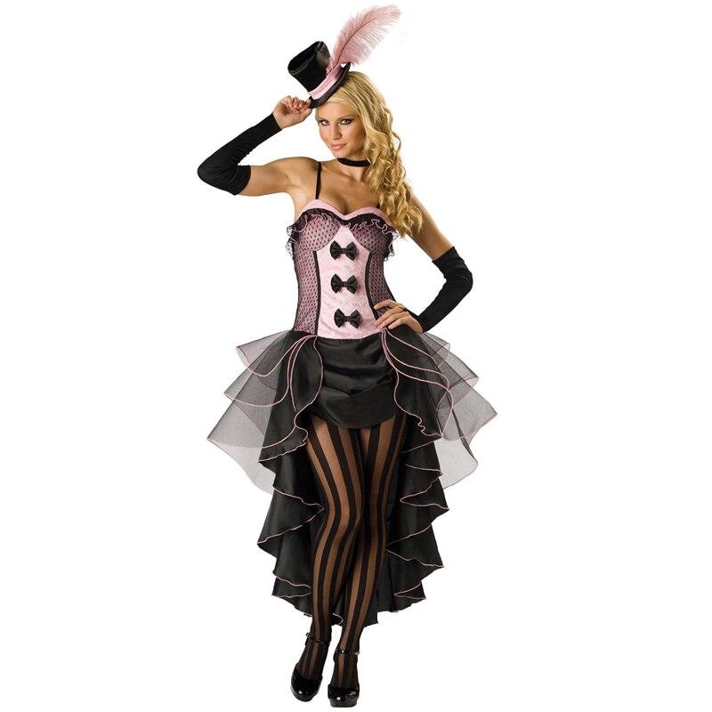 4 Pz/set Donna Del Partito di Halloween Burlesque Beauty Costume S-XXXL 3XL Plus formato Sexy Saloon Girl Can Can Vestito Operato con il Cappello H8822