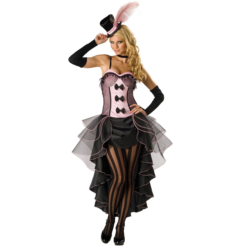 4PC/Set Woman Halloween Party Burlesque Beauty Costume S-XXXL 3XL Plus Size Sexy Saloon Girl Can Can Fancy Dress with Hat H8822