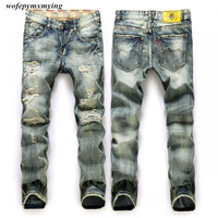 Italy Famous Men's Jeans New Brand Robin Jeans Wear white straight men ripped denim jeans mens slim fit Free shipping