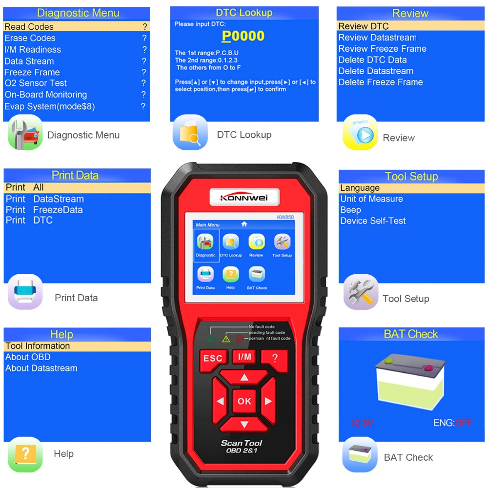 Image 5 - OBD2 ODB2 Scanner Auto Diagnostic Scanner KONNWEI KW850 Full Function Car Diagnosis Car Scanner Universal OBD Engine Code Reader-in Code Readers & Scan Tools from Automobiles & Motorcycles