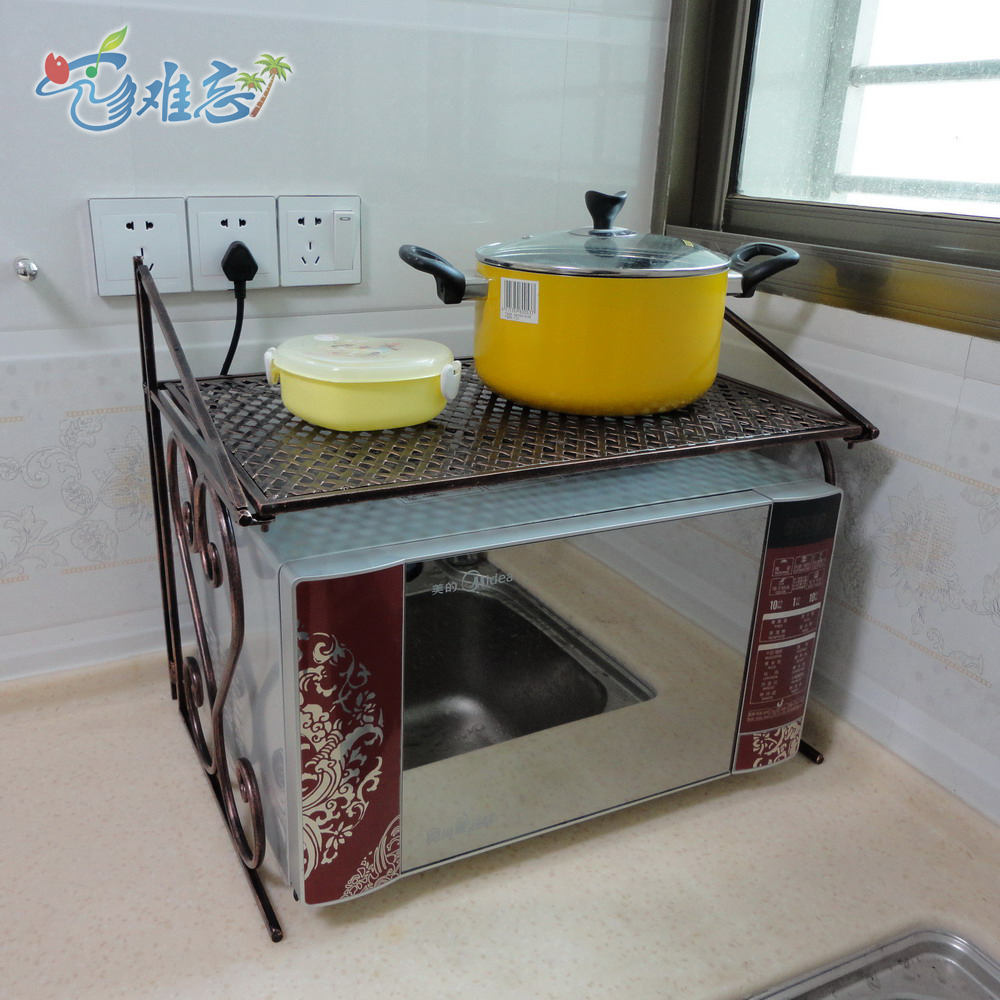 Iron Kitchen Racks Microwave Oven Rack Multifunction Wood Storage Shelves Shipping In Cabinets From Home Improvement On