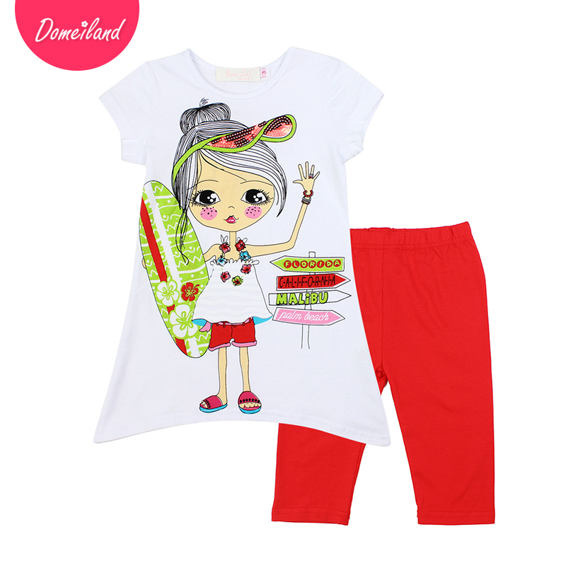2017 fashion brand domeiland summer Children clothing outfits cute cartoon girl cotton short sleeved Sequins shirts legging set 2017 fashion brand domeiland summer children clothing for kids girl short sleeve print floral cotton tee shirts tops clothes