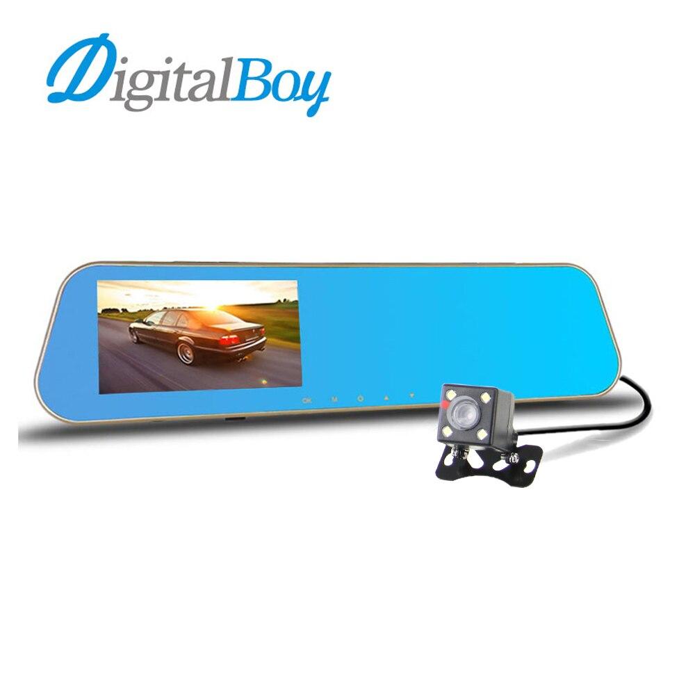 imágenes para Digitalboy cámara del coche dvr espejo retrovisor del automóvil dvr lente dual dash cam video registrator videocámara full hd 1080 p coche cámara