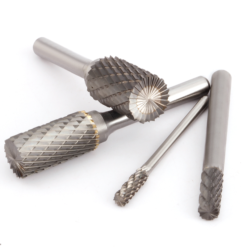 Tungsten Steel Rotary File 1pcs Boule Slot with Blade on The Top Carbide Alloy Cylindrical Milling Cutter Column Type 3-16mm