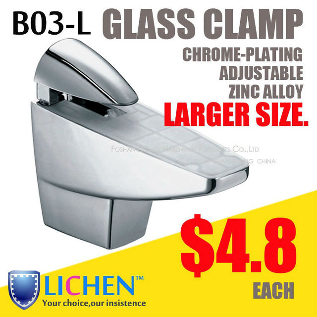 LICHEN(2pcs/lot)B03-L Large size chrome-plating zinc alloy glass adjustable clamp supports Bathroom glass clamp Glass clip