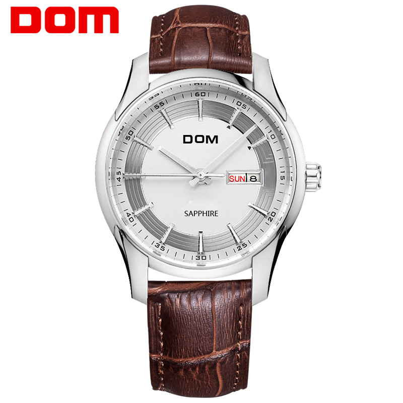 DOM Top Brand Luxury Men Watches Waterproof Quartz Business Wristwatch Leather Watch Man Quartz Clock Relogio Masculino M-517 mens watches top brand luxury sport quartz watch dom m 132 leather strap clock men waterproof wristwatch relogio masculino
