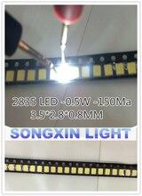 3000 adet 2835 LED 0.5W beyaz SMD/SMT PLCC 2 2835 beyaz 150Ma 50 65lm 6000 6500K 2835 diyotlar yüksek güç LED Ultra parlak SMD LED