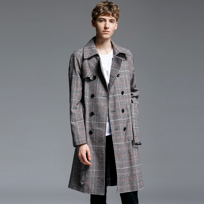 S-6XL!Medium-long plaid   trench   2018 spring and autumn fashion double breasted long-sleeve outerwear plus size