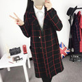 Fashion Long Trench Coat For Women New 2017 Spring Autumn Corduroy Plaid Trench Coats Casual Slim Female Outerwear Clothes Y235