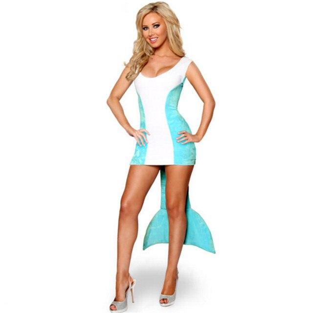 Adult Mermaid Dress Tail Skirt Sexy fish animal Cosplay Costume game Night  club DS Uniform Masquerade bd715f44f703