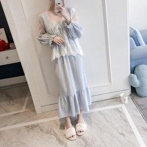 Image 3 - Girl Robe Lace Robe Set Women Princess Vintage Homewear set Sleepwear Robes Autumn